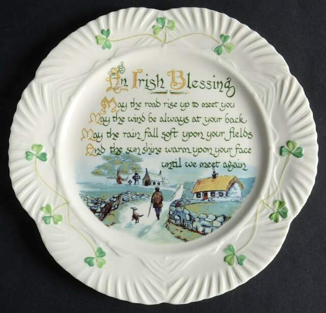 Belleek HARP SHAMROCK Irish Blessing Luncheon Plate 9034192
