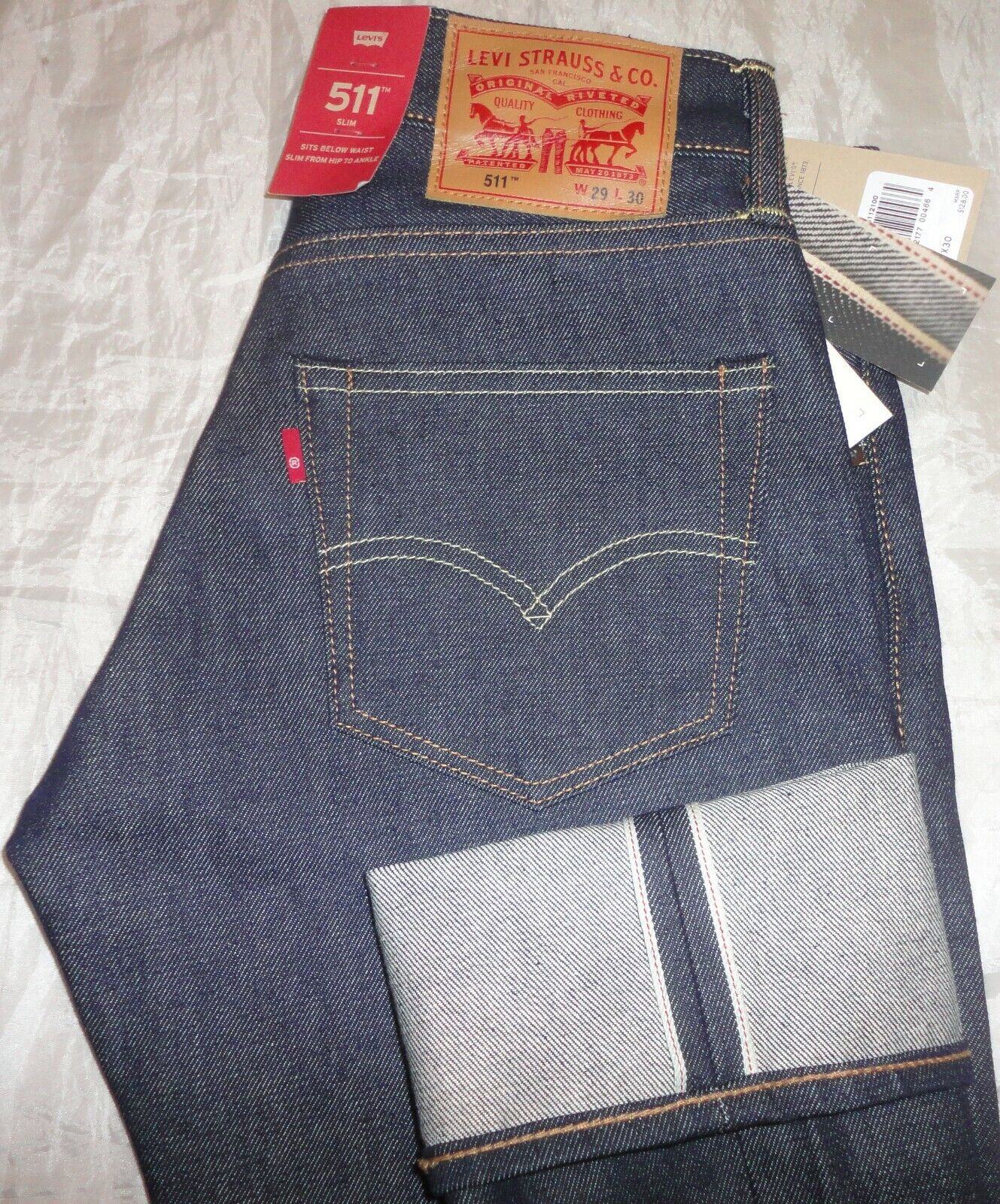 $128 NWT Levi/'s Men/'s 511 Slim Selvedge Rigid URN Jeans 045112100