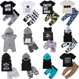 Infant-Newborn-Kids-Baby-Girl-Boy-T-shirt-Tops-Pants-Trousers-2PC-Outfit-Clothes