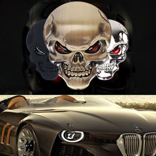 3D Metal Skull Bone Auto Car Motorcycle  Decor Emblem Badge Decal Sticker gold