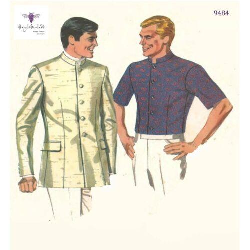 Para Hombre Nehru Camisa Jagger Chaqueta Beatles Vintage 1960s patrón de Costura