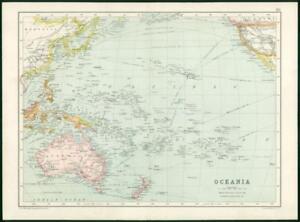 Details about 1912 Original Colour Antique Map - AUSTRALIA OCEANIA MAP (82)