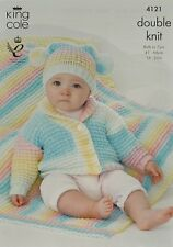 Knitting pattern Bambino / Bambini ROLL Colletto Giacca Cappello teabag & aperto DK 4121