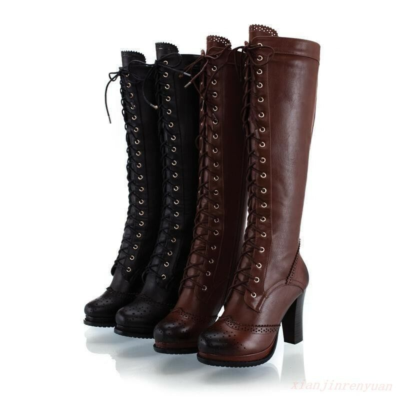 Retro Womens shoes High Heel Lace Up Fur Lined Military Combat Knee High Boot