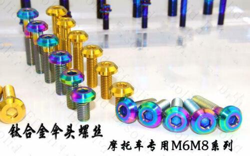 8pc Titanium Alloy Screws M6 M8 x 12 15 20 25-40mm Motorcycle Disc Brake Bolts