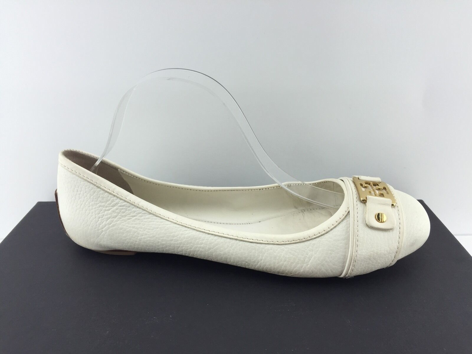 Tory  Burch bianca Leather Flats 10.5 M  presa di fabbrica