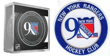 NEW YORK RANGERS 90TH ANNIVERSARY PUCK & PATCH HOCKEY CLUB STANLEY CUP CHAMPIONS