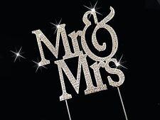 Bling MR & MRS WEDDING Diamante Rhinestone Gem Cake Topper 12cm Silver