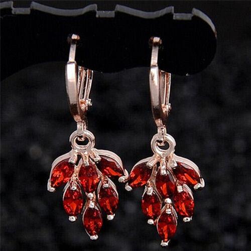 Femmes bijoux Ensemble plaqué or Strass Feuille Boucles d/'oreilles collier pendentif pts