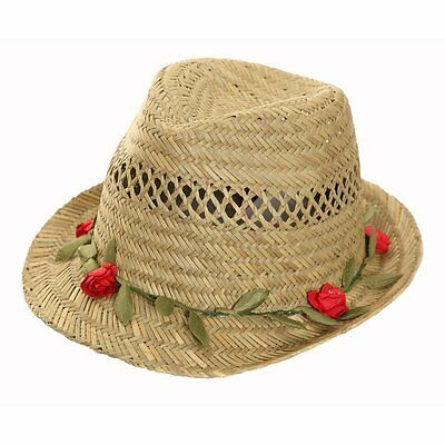 LADIES NATURAL STRAW TRILBY HAT WITH   GARLAND one size 57CM. FREE fast post