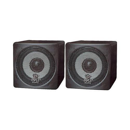 Pyle PCB3BK 3'' 100 Watt Black Mini Cube Bookshelf Speaker In Black (Pair)