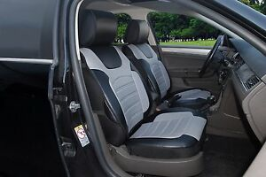 Pair of 2 Front Leather-Like Auto Seat Cushion Covers 802S BlackGray