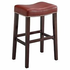 Acme Furniture Lewis Counter Stool, Set Of 2 In Red, Pu And Espresso 96295 New