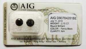 Natral High Grade Black Diamond 1.52ct AIG Certified    6.28 x 6.41 x 4.86