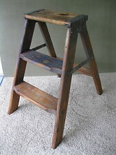 Antique Step Stool Vtg Primitive Folding Wood Ladder Stand Stepstool, Blue Paint