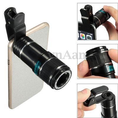 Universal 12X Phone Camera Lens Zoom Lens Optical Clip Telephoto Telescope Tab