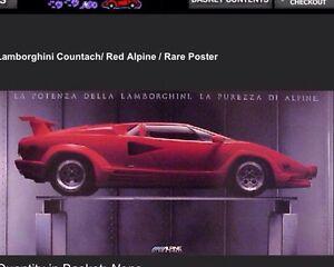 Lamborghini Countach Red Alpine Rack Original Car Poster Own It