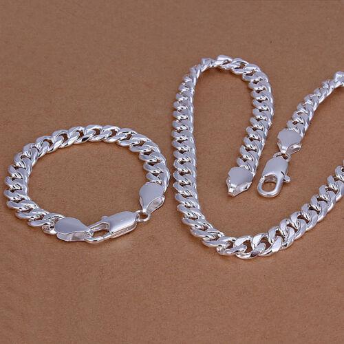 Cool Argent Sterling 925 hommes sur le côté plat Homard Collier Bracelet Set SLB099