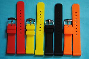 Fuerte-Silicona-Correa-Reloj-en-20-22-24mm-Negro-rojo-Amarillo-O-NARANJA