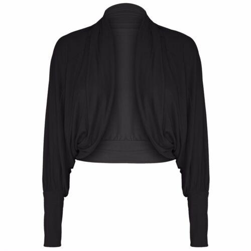 New Ladies Batwing Shrug Long Sleeve Womens Jersey Bolero Cardigan Top Size 8-14