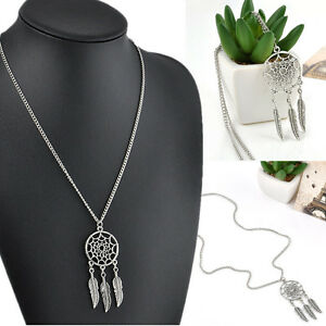 Women-Vintage-Retro-Fashion-Feather-Pendant-Jewelry-Long-Sweater-Chain-Necklace
