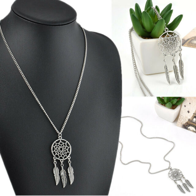 Women Vintage Retro Fashion Feather Pendant Jewelry Long Sweater Chain Necklace