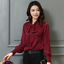 Womens-Satin-Silk-Button-Down-Blouse-Top-Bow-Tie-Neck-Shirt-Long-Sleeve-Zhou8 thumbnail 8
