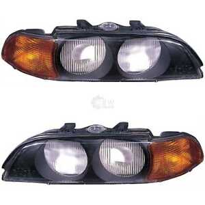 Streuscheibe-Halogenscheinwerfer-Glas-Set-mit-Blinker-fuer-BMW-5er-E39-orange