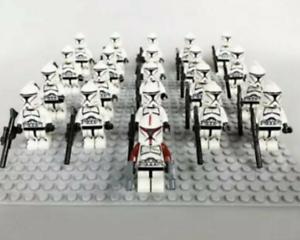 21Pcs Minifigures Star Wars Red/&Black Clone Trooper 501st Clone Army Lego Moc Ki