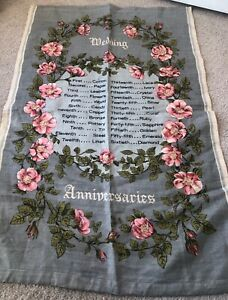 Vintage Retro Wedding Anniversaries  Irish Linen Dunmoy Tea Towel