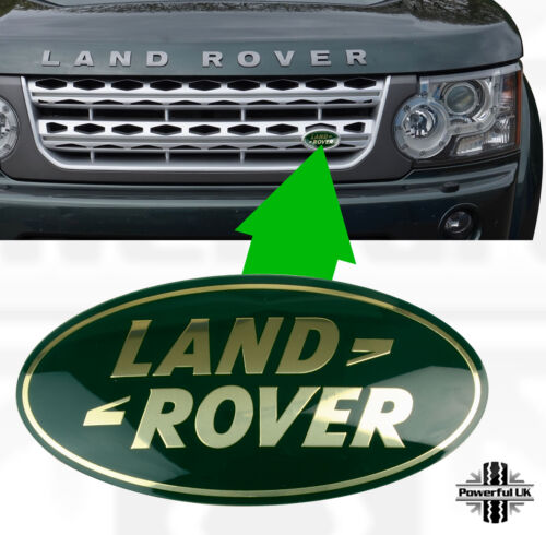Genuine Land Rover Discovery 4 GREEN+GOLD front grille oval replacement badge 3