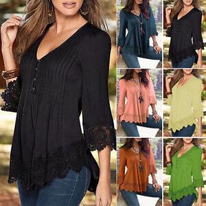 Damen elegant v ausschnitt spitze langarm oberteile bluse freizeit tunika tops ebay - Oberteile damen elegant ...
