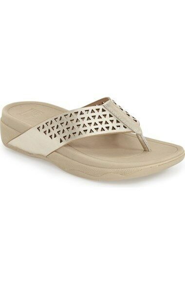 8fe592638 FitFlop Leather Lattice Surfa Thong Sandal - Gold