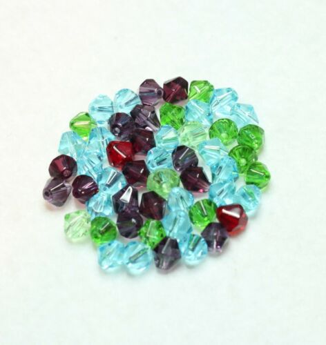 BBA156 50 FACETED BICONE GLASS BEADS MULTI 6mm