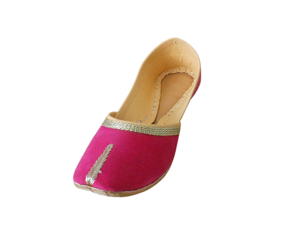 Women shoes Indian Handmade Jutties Ballerinas Mojari Pink UK 3.5-9.5 EU 36-44