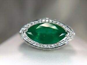 18k-White-Gold-Deisigner-Marquise-Green-Emerald-Round-Diamond-Cocktail-Ring