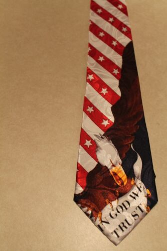 New American Flag Brand New Polyester Neck Tie American Flag In God We Trust