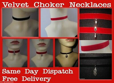 Choker Necklace, Velvet, Gothic Burlesque Choker Necklace, Red, Black Choker