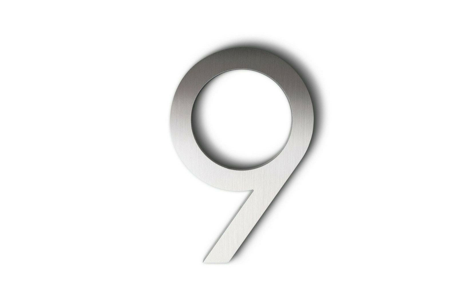 Modern House Number Aluminum Modern Font Number NINE  9