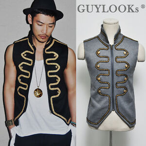 Runway lux mens haute couture mod gold embroidery napoleon for Haute couture men