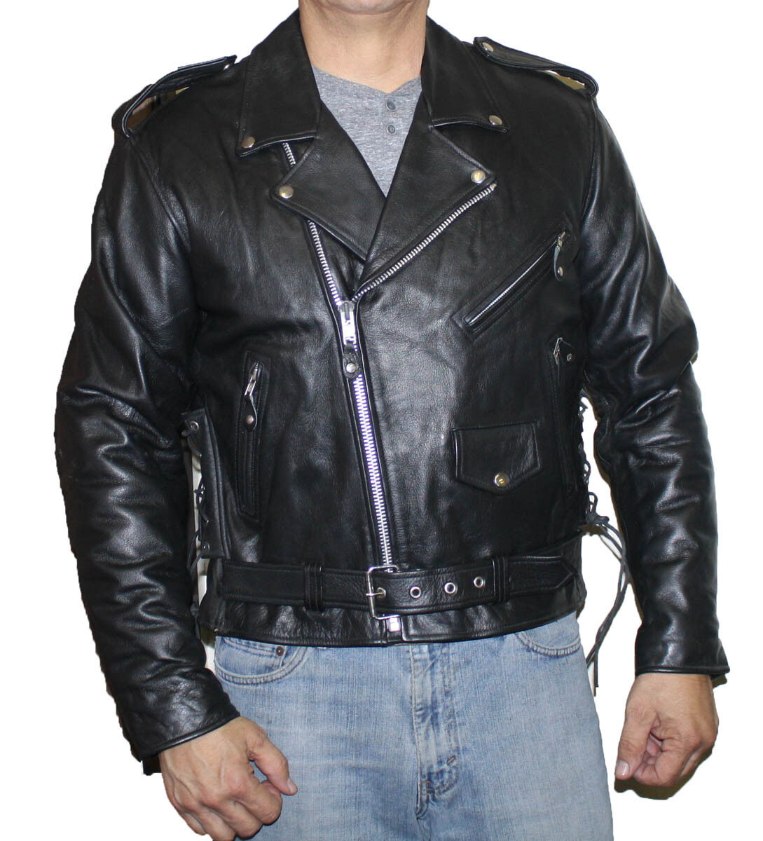 herren Genuine leder Classic Motorcycle Biker Style Quality jacke