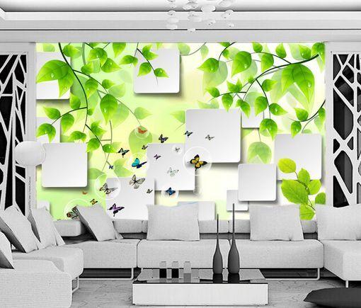 3D Foglie, farfalla 30 Parete Murale Carta da parati immagine sfondo muro stampa