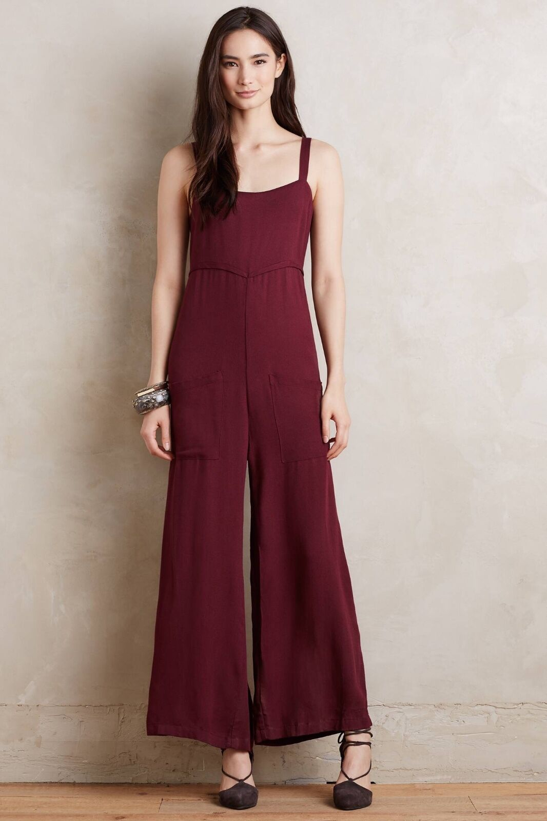 NWT NEW  Anthropologie Cleo Jumpsuit Large L  color Wine by Lacausa