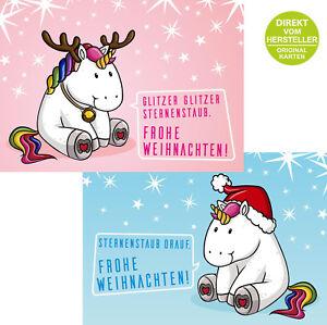 Weihnachtsgrüße Geschäftlich Lustig.Details Zu 10 Lustige Weihnachtskarten Dickes Einhorn 2 Motive Mit Je 5 Karten