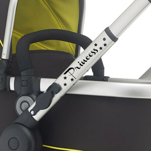 2X PRINCESS pram vinyl Buggy sticker pushchair CHOOSE COLOUR /& FONT