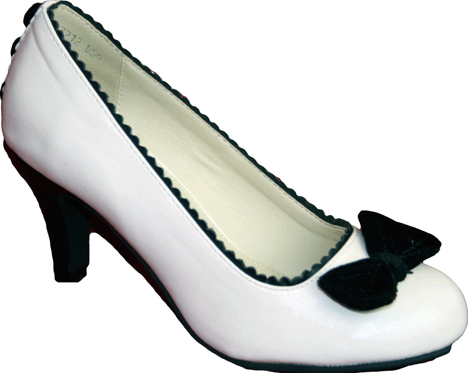 T.U.K. schuhe Tuk Schuhe Antipop Heels Pumps Cream Scallop Buttons 37-41 Neuware