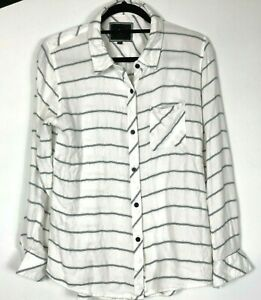 RAILS-Womens-Blouse-Top-White-Navy-Striped-Soft-Flannel-Long-Sleeve-Medium-A05