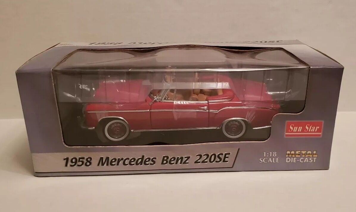 Sun Star 1958 Mercedes Benz 220SE Coupe Metal rot Sun Star Die-Cast 1 18 Scale