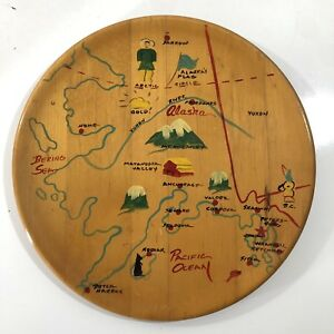 Vintage-Hand-Painted-Alaska-State-Map-Wood-Tray-Wall-Hanging-Iniut-McKinley