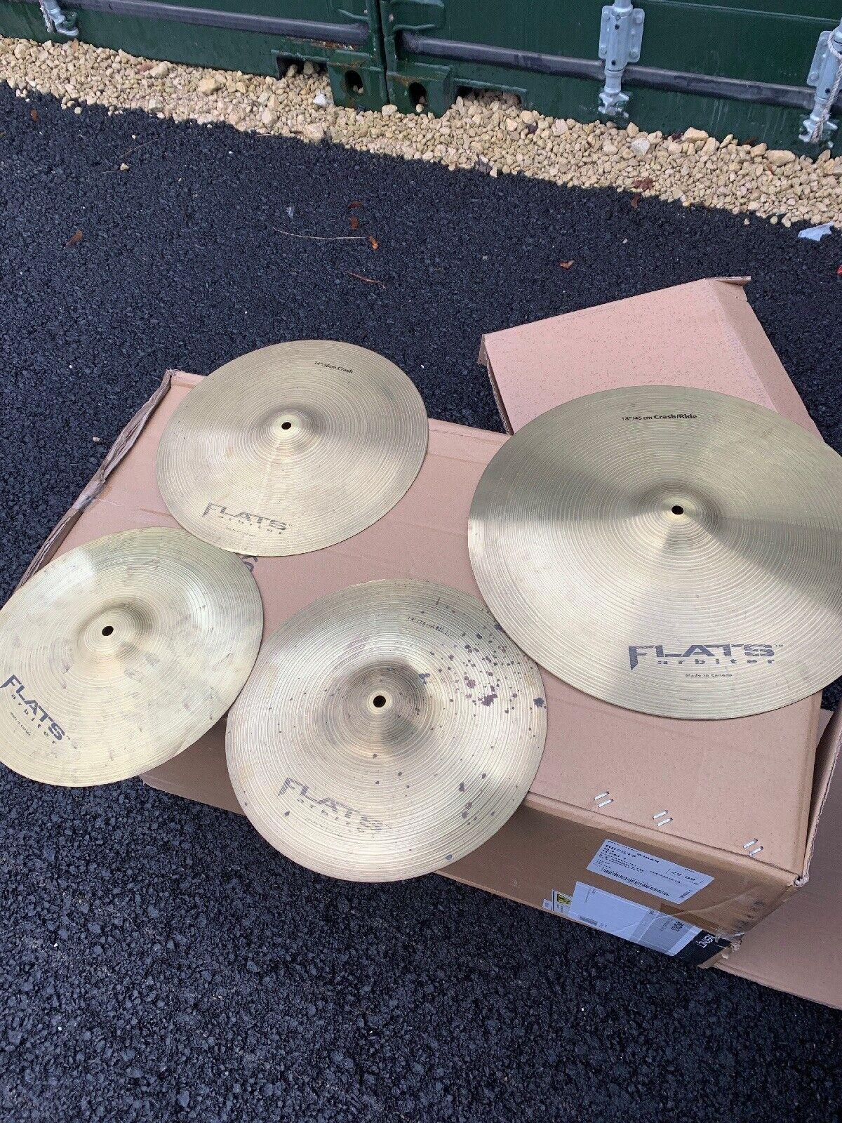 """Free P&P. Set of Arbiter Flats Cymbals. 18"""" Ride, 14"""" Crash, 13"""" Hi Hats. CS911Y"""